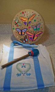 Butterfly drum, beater and bag