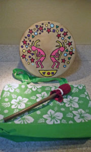 Kokopelli drum, beater and bag